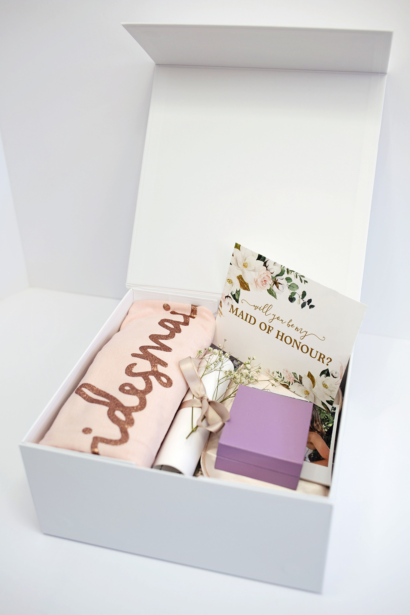 Finished maid of honour proposal box