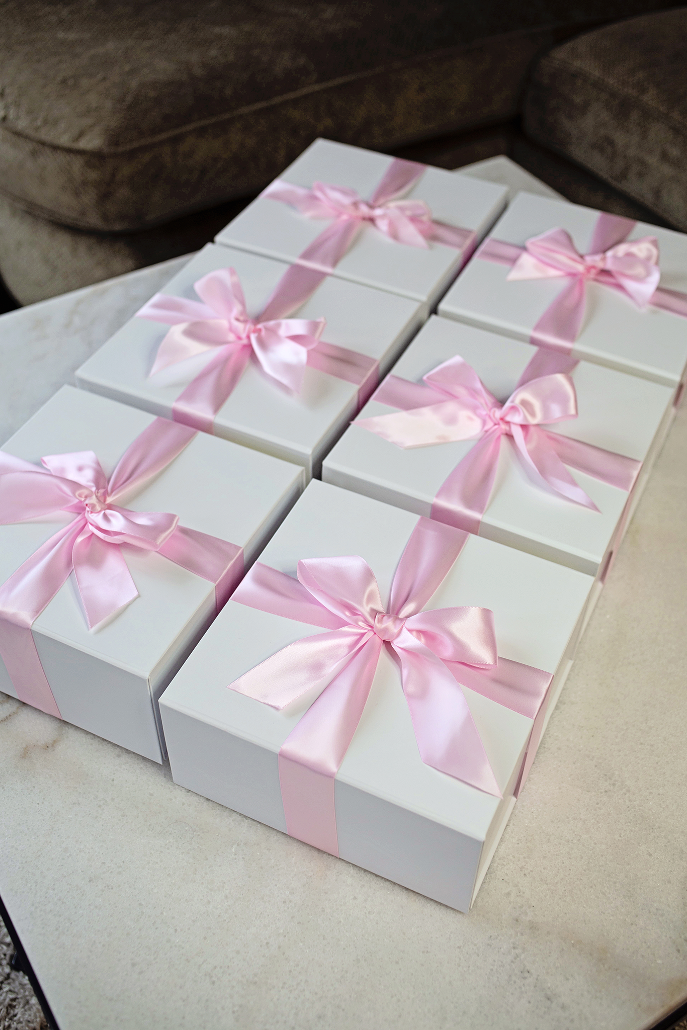 Finished gift boxes, wrapped with ribbon